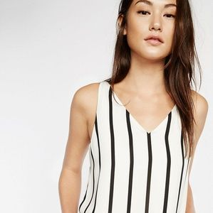 Express Black and White Striped Sleeveless Top